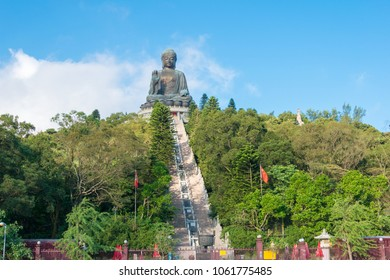 Lantau Island, Hong Kong - Jun 11 2017: Tian Tan Buddha at Po Lin Monastery in Lantau Island, Hong Kong. a famous Tourist spot.