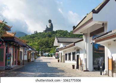 Lantau Island, Hong Kong - Jun 10 2017: Tian Tan Buddha in Lantau Island, Hong Kong. a famous Tourist spot.
