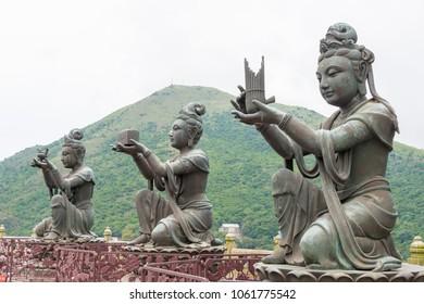 Lantau Island, Hong Kong - Jun 09 2017: Buddha Statues at Tian Tan Buddha at Po Lin Monastery in Lantau Island, Hong Kong. a famous Tourist spot.