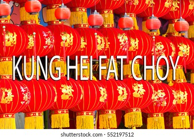 lantern for celebration special day of chinese and word kung hei fat choy