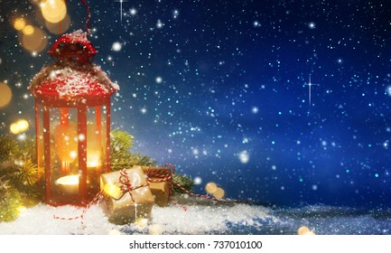 Lantern With Christmas Decoration