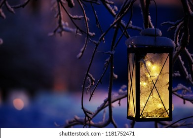 Lantern with Christmas lights