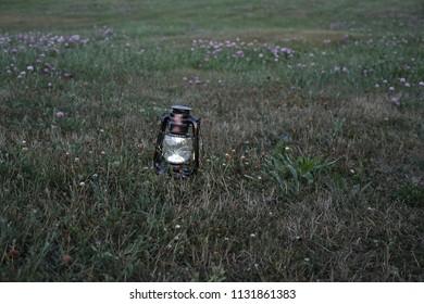 Lantern in a field at dusk