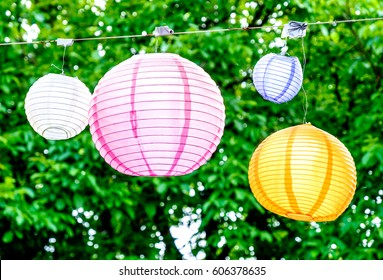 lantern in front of blue sky - space for text