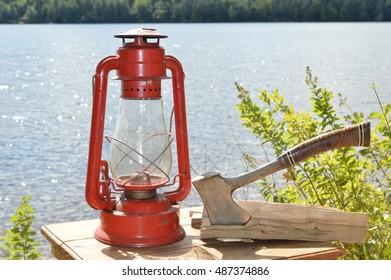lantern and hatchet