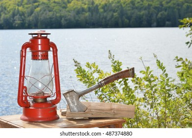 lantern and hatchet lake in the background