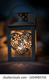 lantern with a heart and flowers pattern