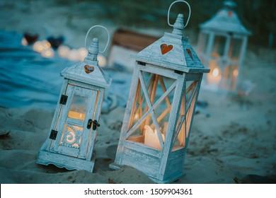 Lantern light on the beach