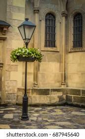 Lantern near Armenian church in Lviv in Ukraine