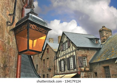 Lantern on the medieval streets of French cities