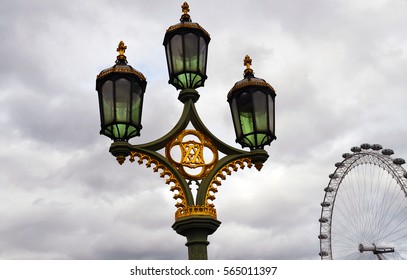Lantern on the Westminster Bridge in London, UK