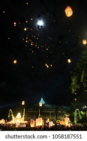 Lantern release process has significance to the Buddhists. In each lantern is released, contains hope and. prayers flown to the heavens. vesak ceremony at borobudur, indonesia. 2016