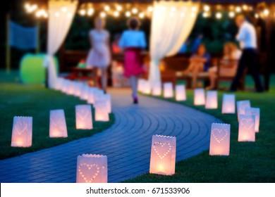 Lantern summerhouse and night lighting path for walks in the garden