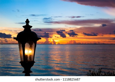 Lantern and sunset at Key Largo, Florida