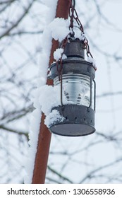 Lantern in a wintry atmosphere