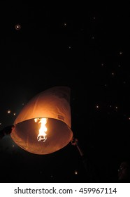 lantern-flying after the ceremony, on waisak or vesak, the day of Buddha birth, enlightment and his death at the Borobodur temple Indonesia, 2014