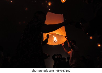 lantern-flying before sunrise on waisak or vesak day, celebrating the day of Buddha birth, enlightment and his death at the Borobodur temple Indonesia, 2014