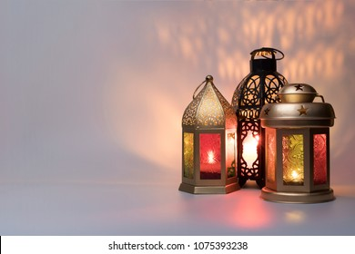 Lanterns combined together for Ramadan and Eid greeting cards