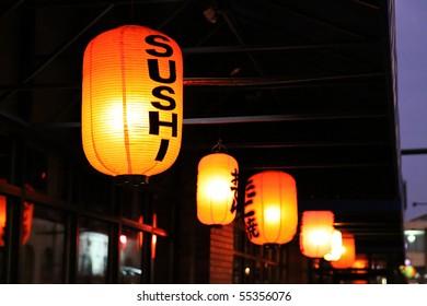 lanterns outside a sushi restaurant