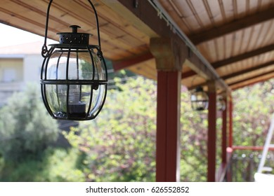 Lanterns at the porch with copyspace