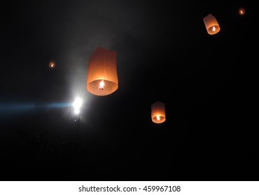 lanterns in the sky - waisak or vesak, celebration of the Buddha birth, enlightment and his death at the Borobodur temple Indonesia, 2014