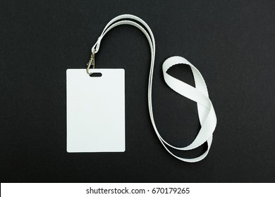 Lanyard and badge. Conference badge. Blank badge template with white strap.