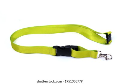 Lanyard yellow with Metal Lobster Clip and Safety Breakaway Clasp. Isolated on white background