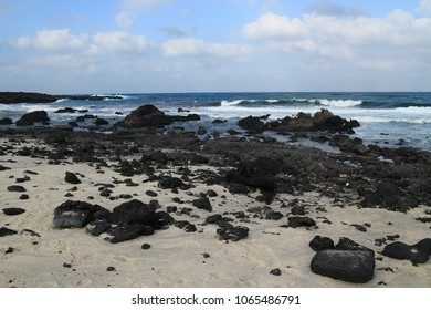 Lanzarote Canary Island Spain-January 20 2018:Bajo de los Sables huge beach with a dunes and volcanic rock - Shutterstock ID 1065486791
