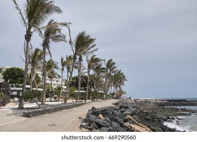 Lanzarote, Canary Islands, Spain - August 20, 2015 : View of Costa Teguise