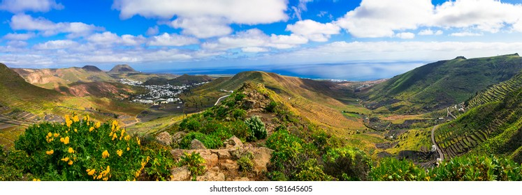 Lanzarote - impressive beauty of volcanic island.View of Haria village. Canary islands