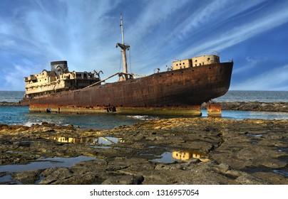 Lanzarote. Old broken ship near Costa Teguise and Arrecife, Canary Islands, Spain