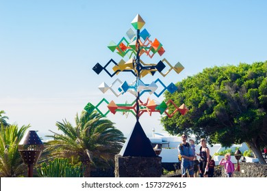 Lanzarote, Spain - 02.14.2019: wind driven sculpture of cesar manrique in place of cesar manrique foundation