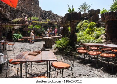 Lanzarote, Spain - August 6,2018:People at the Restaurant inside the volcanic cave called Jameos de Agua created by the artist César Manrique.