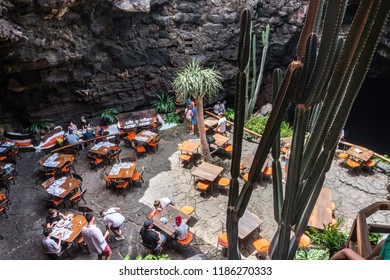 Lanzarote, Spain - August 6,2018:Restaurant inside the volcanic cave called Jameos de Agua created by the artist César Manrique.