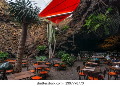 Lanzarote, Spain. Circa February 2019. Restaurant at the entrance to Jameos del Agua,a cave with a lake, one of the most important sightseeing spots of Lanzarote, in Canary Islands