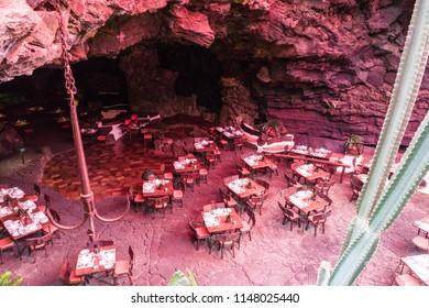 LANZAROTE, SPAIN - CIRCA SEPTEMBER, 2017: Restaurant of Jameos del Agua