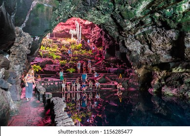 LANZAROTE, SPAIN - CIRCA SEPTEMBER, 2017: Famous cave of Jameos del Agua
