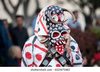 LANZAROTE, SPAIN - Feb, 12: Man in Carnival costumes at the Grand Carnival Parade on February 12, 2018 in Arrecife, Lanzarote, Canaries Islands, Spain.