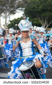 LANZAROTE, SPAIN - Feb, 12: Woman in Carnival costumes at the Grand Carnival Parade on February 12, 2018 in Arrecife, Lanzarote, Canaries Islands, Spain.