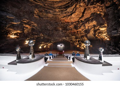 Lanzarote, Spain - February 11, 2018: Auditorium in famous landmark Los Jameos del Agua in Lanzarote, Canary islands, Spain.
