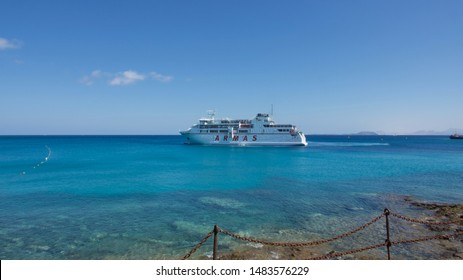 Lanzarote, Spain; July 10th 2019: The ARMAS ferry on the water at Playa Blanca.