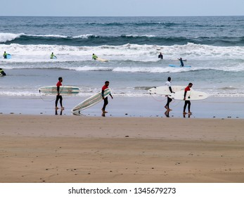 Lanzarote, Spain - June 13, 2017: Famara, surf lessons on the beach