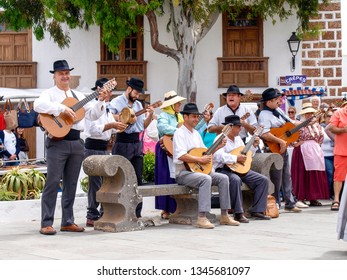Lanzarote, Spain - June 4, 2017:  typical Canarian players with music and dancing