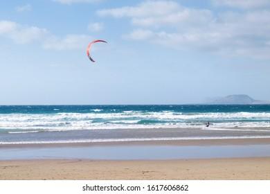 Lanzarote, Spain - June 4, 2017: Kitesurf at Famara beach