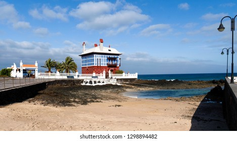 Lanzarote, Spain - June 7, 2017: Arrieta, Casa Juanita, The Blue House