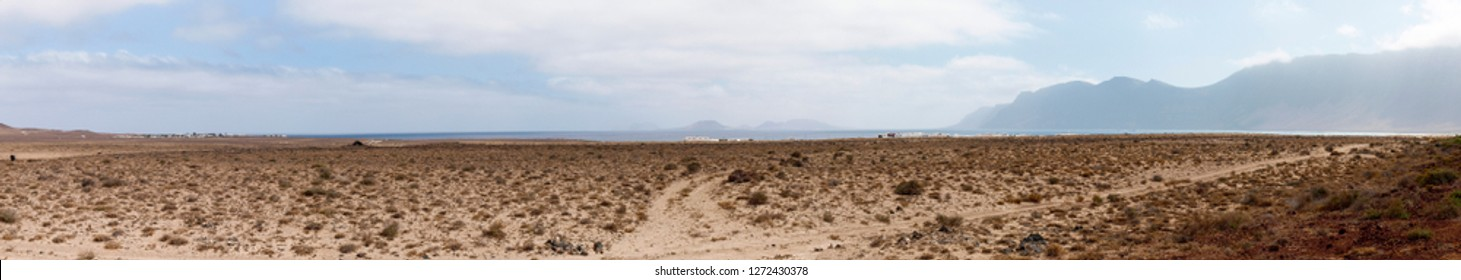 Lanzarote, Spain - June 9, 2017: Island desert with dirt road