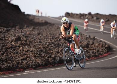 LANZAROTE, SPAIN - MAY 21: Sportsman Rub�©n Cabrera Brito (611 ESP) rides a bike during the IRONMAN LANZAROTE triathlon on May 21, 2016 in Tamanfaya, Lanzarote, Las Palmas, Canary Islands, Spain