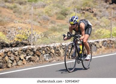 LANZAROTE, SPAIN - MAY 22: English  cyclist Freya Bloor in ironman Triathlon 2010 Event May 22, 2010 in Lanzarote Spain.