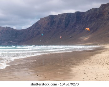 Lanzarote, Spain - May 31, 2017: Famara beach in the north part of the island