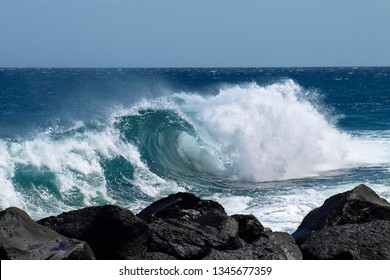 Lanzarote, Spain: Ocean waves on the east coast in the Costa Teguise area